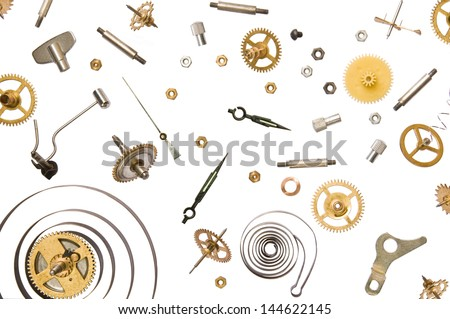 parts of clock mechanism on pure white background - stock photo