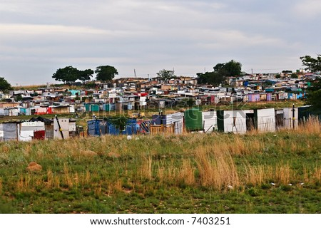 Parts of ghetto in Soweto, a legacy of South African apartheid can be seen still to these days , a definitive no for tourists - stock photo