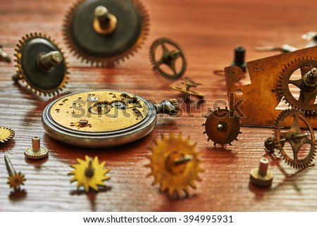 Parts of mechanical watches. Shallow depth of field - stock photo