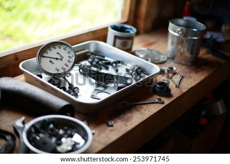parts of  motorcycle / vintage - stock photo
