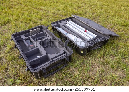 Parts of professional drone for military or civil use - stock photo