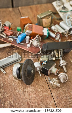 parts of rural radio electrician - stock photo