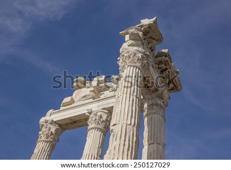 Parts of the ruins ancient temple of Trajan in Bergama Acropolis - stock photo