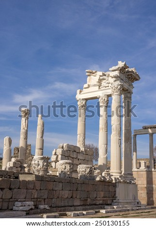 Parts of the ruins ancient temple of Trajan in Bergama Acropolis. Columns and fronton parts - stock photo