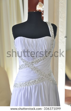 parts of wedding dress with corset and tighting fabric
