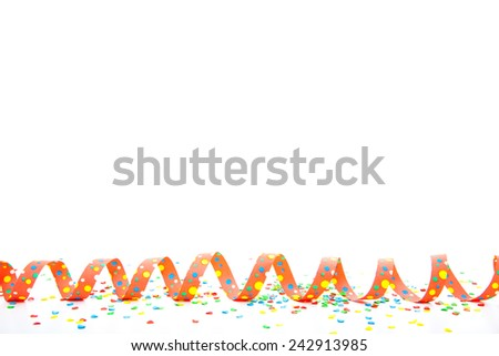Party and carnival utensils and decoration. All on white background - stock photo