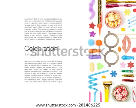 party and celebration elements on white background  - stock photo