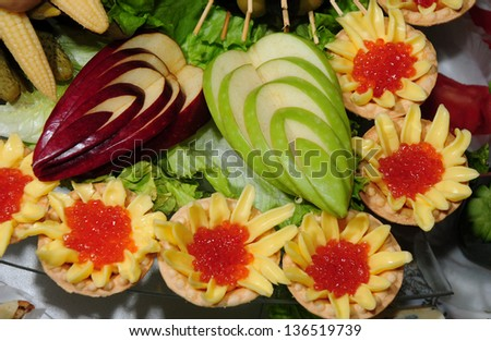 Party appetizers close up - stock photo