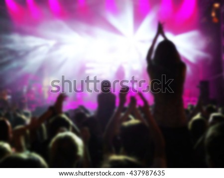 Party background, colorful abstract light, border made of human hands silhouette