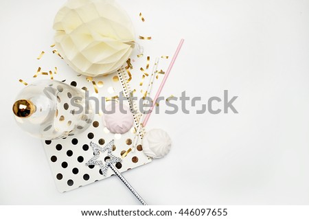 Party background mockup. Flat lay. Notebook polka gold with cakes and magic star, confetti. Header for site or Hero. Wedding style - stock photo