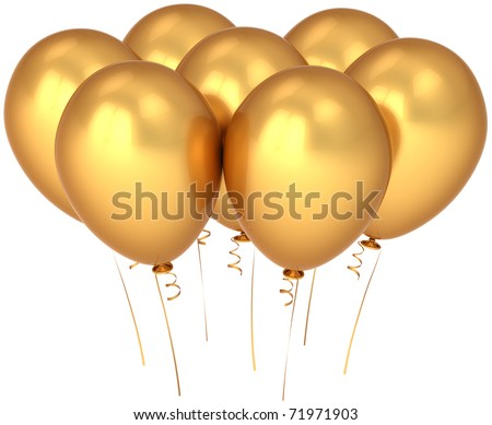 Party balloon gold seven happy birthday decoration 7 golden yellow blank. Glamour luxury anniversary jubilee greeting card concept. Happiness positive abstract. 3d render isolated on white background