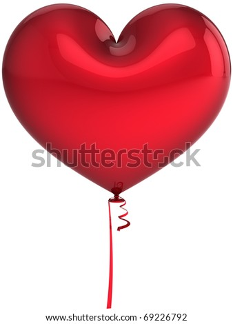 Party balloon heart shaped red blank. I Love You greeting card concept. Wedding romantic honeymoon sweetheart decoration. Valentines Day background. Detailed 3d render. Isolated on white background - stock photo