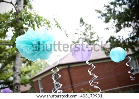party balloons at a backyard celebration - stock photo