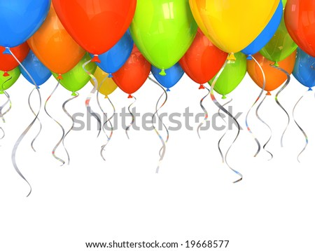 Party balloons background 3D - stock photo