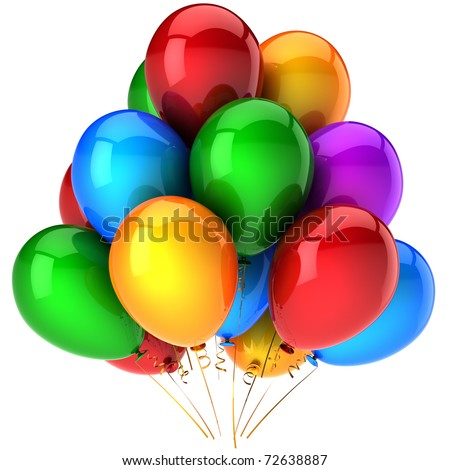 Party balloons balloon baloons multicolor. Happy birthday celebrate life events decoration. Positive joyful happiness friendship abstract. 3d render isolated on white background. - stock photo