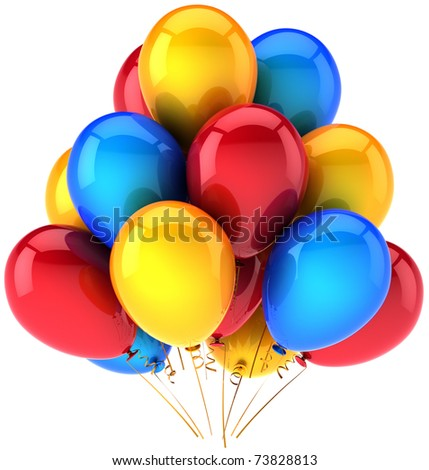 Party balloons balloon birthday new years eve christmas decoration red blue yellow multicolor rainbow colorful holiday celebrate carnival life events greeting card 3d isolated on white background - stock photo