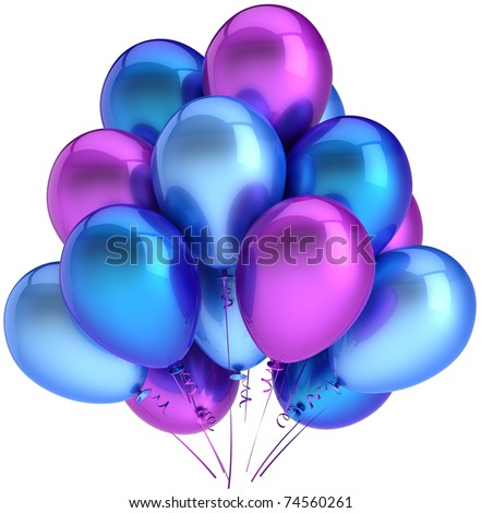Party balloons birthday balloon decoration blue cyan purple multicolor. Anniversary graduation retirement holiday occasion life events greeting card concept. 3d render isolated on white background - stock photo