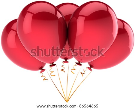 Party balloons birthday balloon five 5 decoration of holiday shiny red. Anniversary celebration retirement graduation life events greeting card concept. 3d render isolated on white background - stock photo