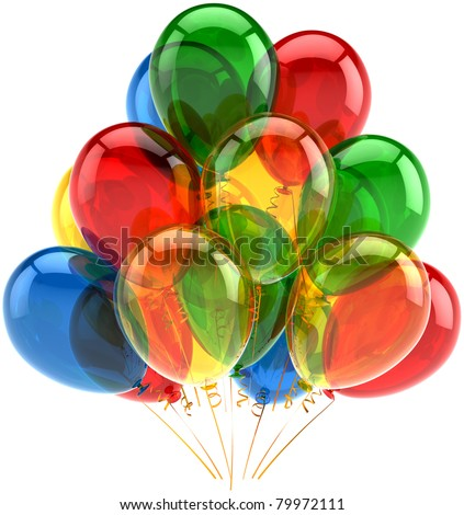 Party balloons birthday balloon holiday decoration multicolor translucent. Happy joy fun positive emotion icon concept. Anniversary celebration greeting card. 3d render isolated on white background - stock photo