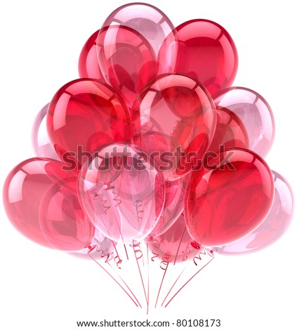 Party balloons birthday celebrate anniversary decoration pink red. Romantic happy joy fun positive sentimental Love abstract. Celebration greeting card. Detailed 3d render isolated on white background - stock photo