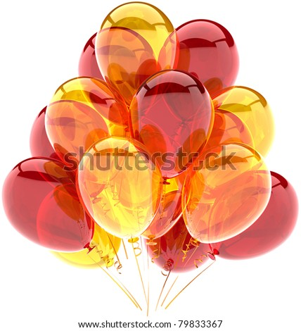 Party balloons birthday celebrate decoration multicolor red yellow translucent. Joy happy abstract. Holiday anniversary greeting card concept. Detailed CG image 3d render. Isolated on white background - stock photo