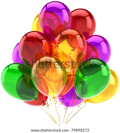 Party balloons birthday celebrate decoration multicolored holiday anniversary celebration retirement graduation greeting card design element. 3d render isolated on white background