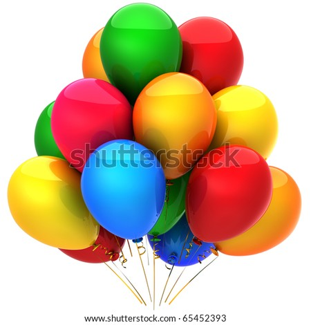 Party balloons birthday decoration blank colorful multicolor holiday occasion life events greeting card concept positive emotion joy happy abstract. 3d render isolated on white background - stock photo