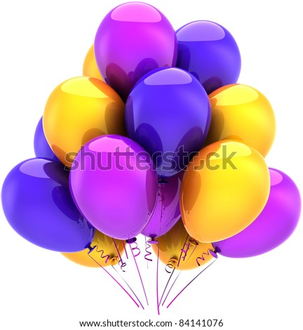 Party balloons birthday decoration blue purple yellow colorful. Happy positive joy abstract. Anniversary celebrate holiday graduation greeting card concept. 3d render isolated on white background - stock photo
