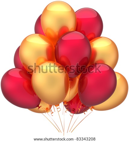 Party balloons birthday decoration golden red gold. Childish happy joy fun positive emotions abstract. Anniversary retirement celebration jubilee concept. 3d render isolated on white background - stock photo
