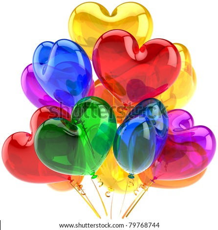 Party balloons birthday decoration heart shaped multicolor translucent. Romantic Love celebration happy Valentines day holiday concept. 3D render isolated on white background - stock photo