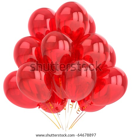 Party balloons birthday decoration red. Anniversary graduation retirement holiday life events occasion greeting card design element. 3d render isolated on white background - stock photo