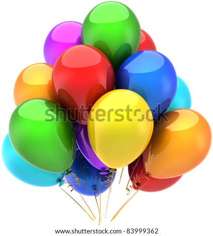 Party balloons birthday holiday celebrate decoration multicolored anniversary retirement graduation sale life events occasion greeting card design element. 3d render isolated on white background - stock photo