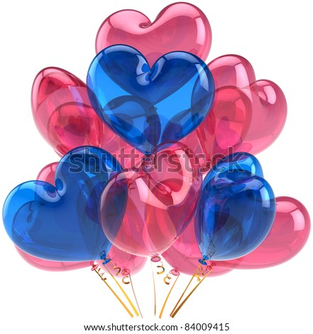 Party balloons birthday Love hearts decoration colored pink blue. Romantic holiday happy marriage abstract. Wedding celebration greeting card concept. Detailed 3d render. Isolated on white background - stock photo