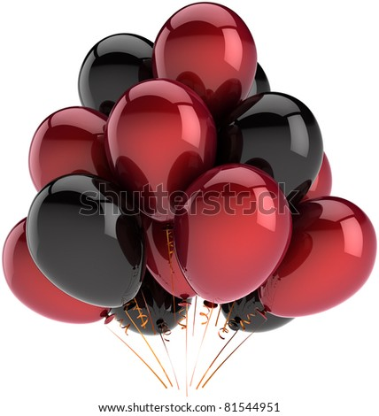 Party balloons black red happy birthday decoration multicolor balloon baloons. Anniversary graduation retirement occasion greeting card concept fun joy abstract. 3d render isolated on white background - stock photo