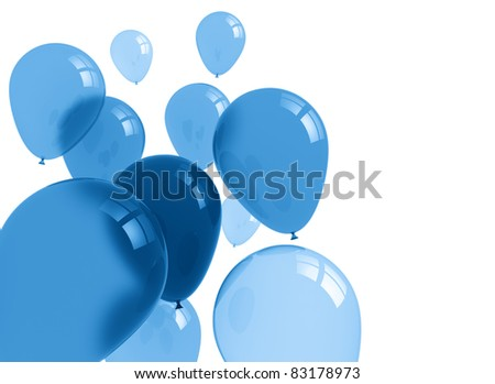 Party balloons blue translucent - stock photo