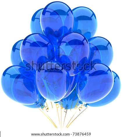 Party balloons blue translucent birthday anniversary graduation retirement holiday decoration cyan blank. Joy happy positive emotion abstract. 3d render isolated on white background - stock photo