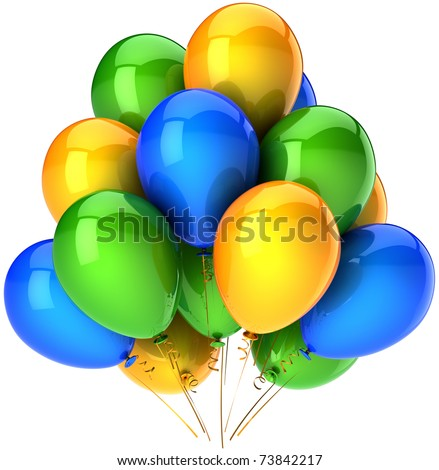 Party balloons blue yellow green colorful shiny birthday anniversary decoration blank. 3d render isolated on white background - stock photo