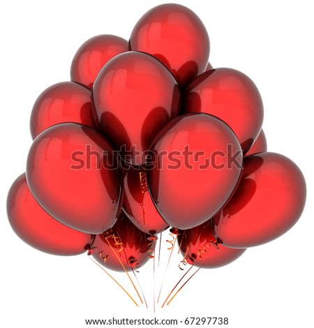 Party balloons colored deep red. Elegance birthday decoration. Holiday joyful emotions. This is a detailed 3D render (Hi-Res). Isolated on white background - stock photo