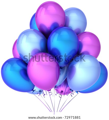 Party balloons colorful blue cyan purple. Shiny performance birthday celebrate decoration. Joyful happiness presentation abstract. This is a detailed render 3D (Hi-Res). Isolated on white background - stock photo