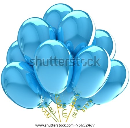 Party balloons colorful blue. Decoration for anniversary celebration. - stock photo