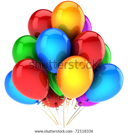 Party balloons colorful Happy birthday holiday celebration anniversary graduation retirement occasion life event decoration. Positive emotions abstract. 3d render isolated on white background - stock photo