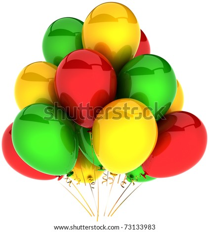 Party balloons colorful red green yellow. Shiny multicolor decoration of birthday presentation celebration. Joyful happiness emotion abstract. Detailed 3d render. Isolated on white background