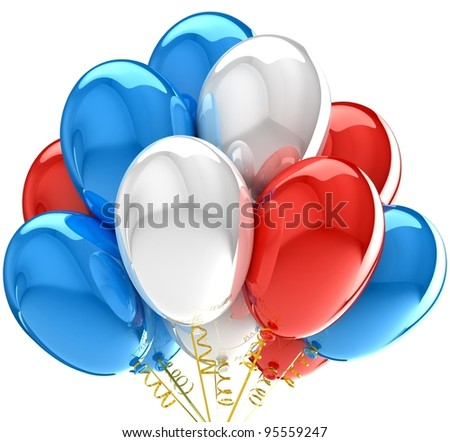 Party balloons colorful red white blue. Multicolor national decoration for anniversary celebration. - stock photo