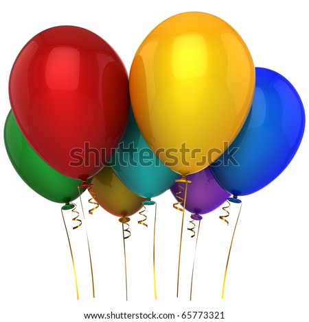 Party balloons colorful 7 seven blank. Happy birthday decoration multicolored classic greeting card design element. Positive emotion joy happiness icon concept. 3d render isolated on white background