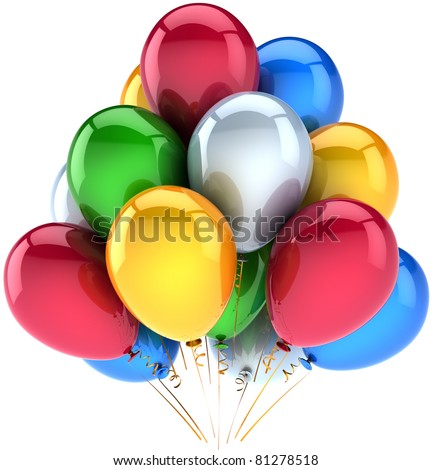 Party balloons decoration new years eve christmas birthday holiday anniversary celebration greeting card design element colorful multicolor. 3d render isolated on white background - stock photo