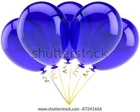 Party balloons five blue happy birthday decoration of holiday celebration. Occasion anniversary retirement graduation concept. Joy fun abstract. Detailed 3d render. Isolated on white background - stock photo