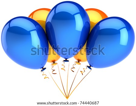 Party balloons five 5 multicolor blue orange. Happy birthday colorful shiny decoration. Holiday greeting card concept. Joy happiness positive abstract. Detailed 3d render. Isolated on white background - stock photo