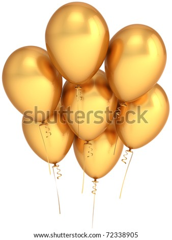 Party balloons gold 7 seven yellow golden balloon birthday decoration blank anniversary jubilee celebration greeting card concept. Happy joy positive abstract. 3d render isolated on white background