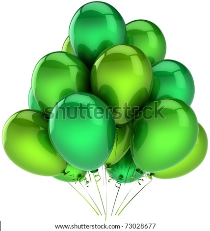Party balloons green balloon baloon happy birthday holiday anniversary graduation retirement performance celebrate life events decoration. Positive emotions. 3d render isolated on white background - stock photo