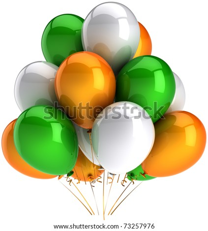 Party balloons green orange white multicolor happy birthday anniversary graduation retirement occasion celebrate holiday decoration. Positive joy abstract. 3d render isolated on white background - stock photo